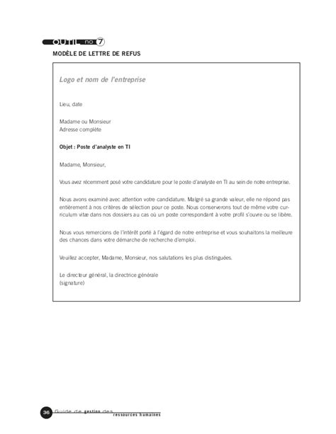 Mutuelle Entreprise Lettre De Refus Guide De Gestion Des Ressources Hmaines