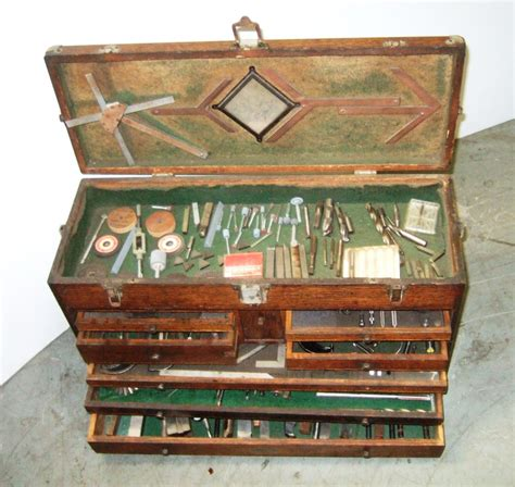 Lathe Tool Cabinet by Vintage Gerstner Machinist Tool Chest Wood Box Full Of