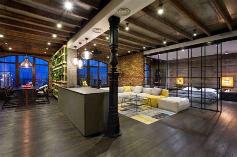Define Livingroom modern industrial loft apartment in ukraine home design