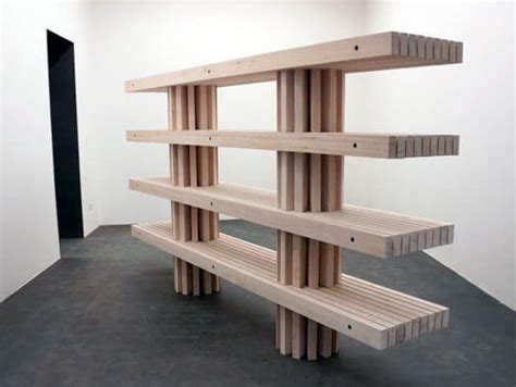 slat bench modular shelving by philippe malouin bookcase