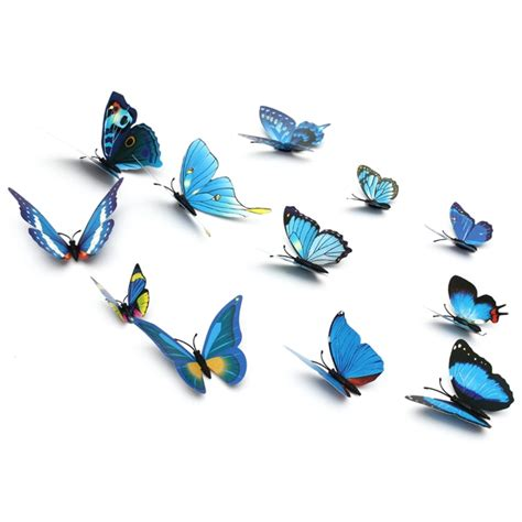 Stiker Dinding Butterfly 3d 12pcs 12pcs 3d butterfly wall sticker fridge magnet home decor applique newchic