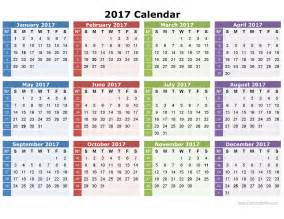 2017 yearly calendar printable template