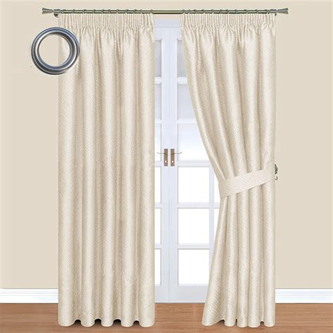 gardinen creme nevada jacquard eyelet lined curtains