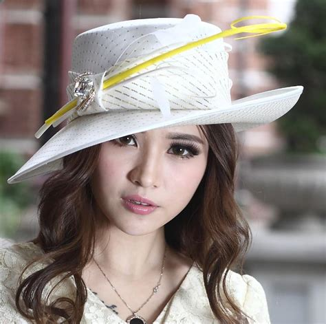 Dress With Hat Val 10 fashion church hat dress hat millinery chapeau 100 polyester yellow feather bar