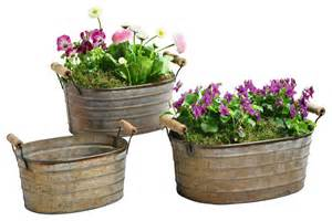 Planters And Pots by Metal Planter Tubs Set Of 3 Rustic Outdoor Pots And