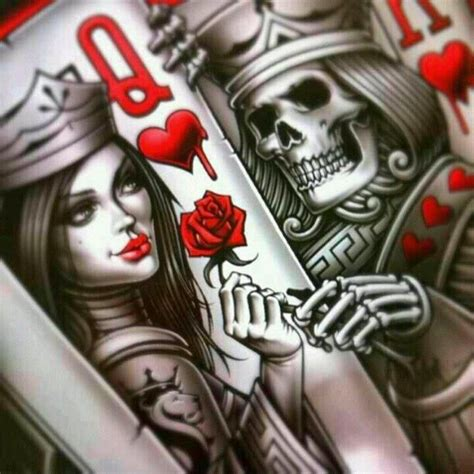 tattoo of queen and king king and queen card tattoos king queen of hearts