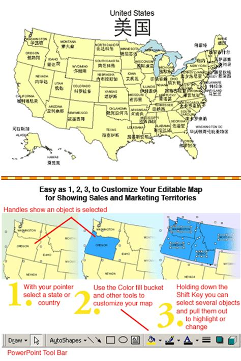 map of the united states broken down into regions usa map with chinese names powerpoint map maps for design