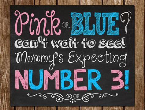 Is Expecting Baby Number Three by Printable Pregnancy Announcement Chalkboard Sign Digital