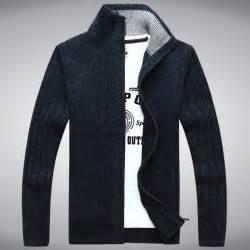 Sweater Zipper mens sweater warm thick velvet sweaters winter cardigan zipper top stand collar
