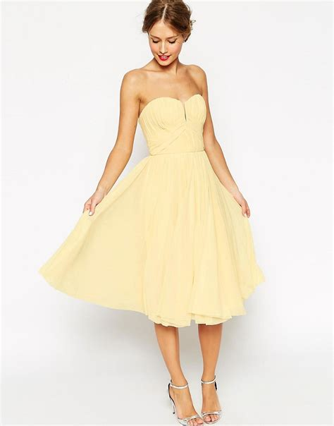asos asos wedding ruched bodice bandeau midi dress at asos