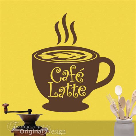 Cafe Latte Kitchen Decor by Cafe Latte Cup Kitchen Vinyl Wall Decal Coffee Decor By