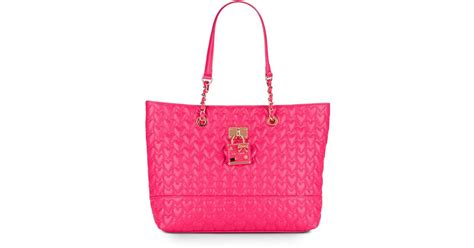 betsey johnson be my baby quilted tote in purple lyst