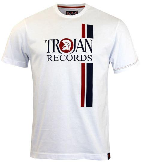 Tshirt Trojan Exclusive trojan retro mod ska racing stripe logo t shirt in white