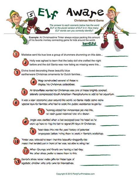 free printable christmas story games are you self aware elf christmas game