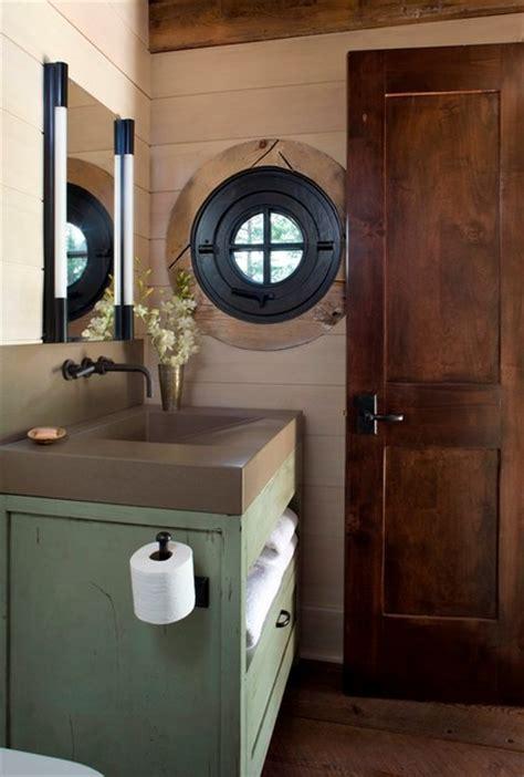 stone cottage rustic powder room denver  tkp