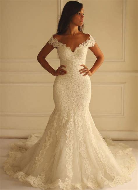 ivory mermaid wedding dresses 2016 off shoulder