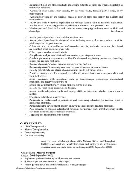 Sle Resume For Nurses With Cases Handled dha rn cv