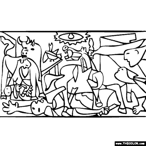 pablo picasso guernica coloring famous paintings