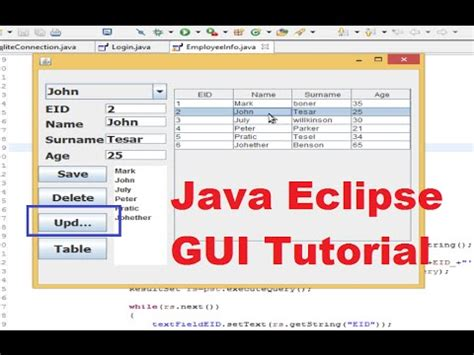 java netbeans sqlite tutorial java eclipse gui tutorial 11 how to update edit a data