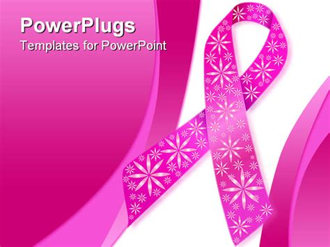 Breast Cancer Ribbon In Pink With Glitter Flowers Breast Cancer Powerpoint Template
