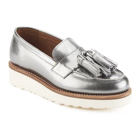 womens silver loafers grenson s clara v leather tassle loafers silver
