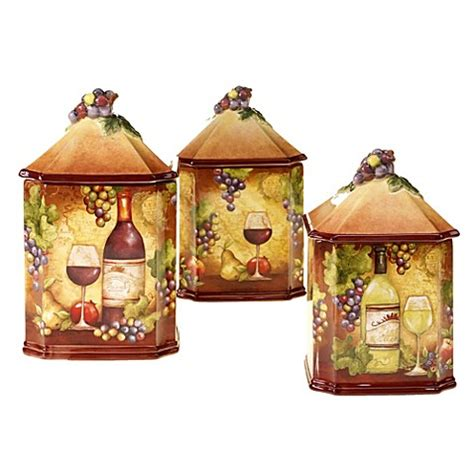wine kitchen canisters certified international wine map 3 canister set bed bath beyond
