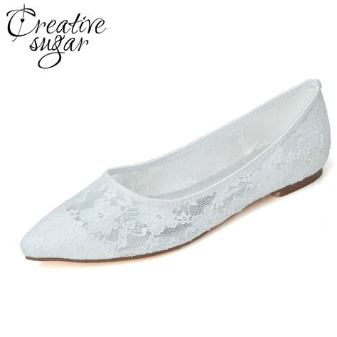 flat shoes for evening wear creativesugar pointed toe see through soft lace mesh