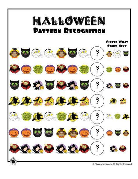 Halloween Pattern Worksheets For Kindergarten | halloween pattern recognition worksheet woo jr kids