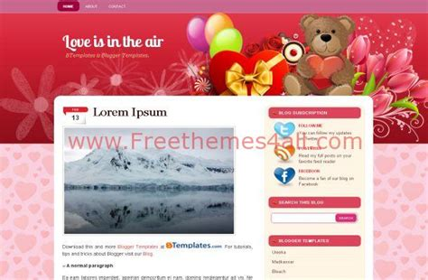 love templates for blogger valentine pink hearts free blogger theme download