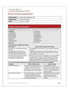 Project Management Lessons Learnt Template by Project Lessons Learned Template 2 Free Templates In Pdf