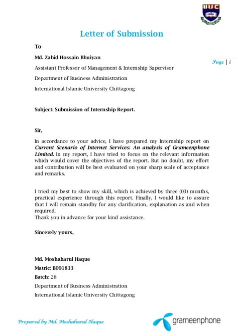 Service Letter For Internship Internship Report Cover Grameen Phone Service By Lectureshee