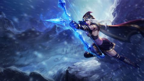 wallpaper ashe league  legends artwork