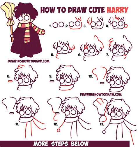 tutorial to c how to draw cute harry potter chibi kawaii easy step