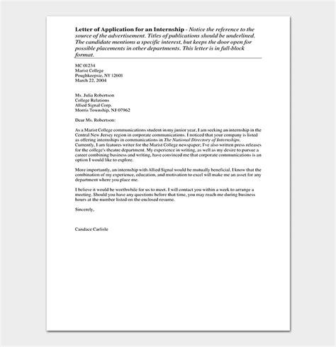 internship request letter write format