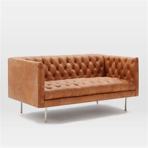 modern leather loveseats modern chesterfield leather loveseat 63 quot west elm
