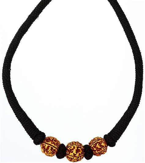 cord jewelry rudraksha necklace with black cord