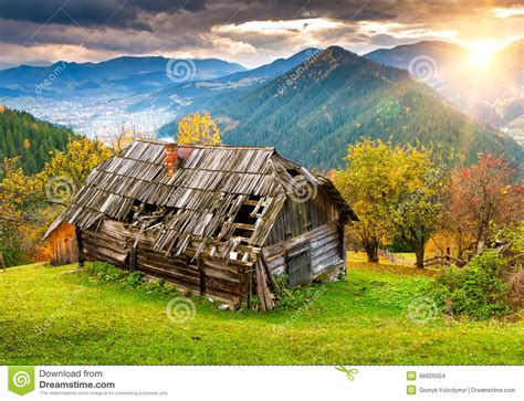 landscape with houses sunset landscape with old rural house stock photo image 48920054