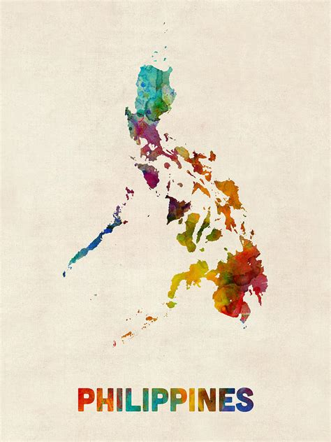 watercolor tattoo artist manila philippines watercolor map digital art by michael tompsett