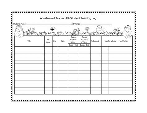 middle school reading log template middle school reading logs