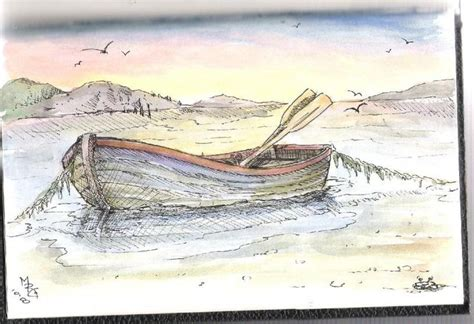 small boat sketch pen and wash sketch plus finished acrylic painting