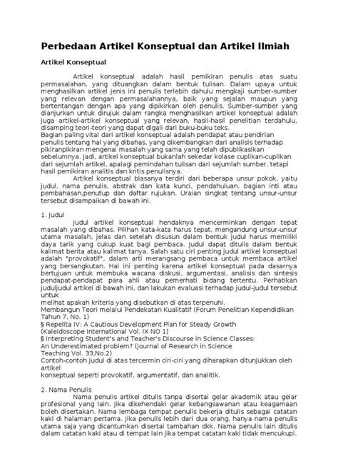 format analisis kritis artikel perbedaan artikel konseptual dan artikel ilmiah
