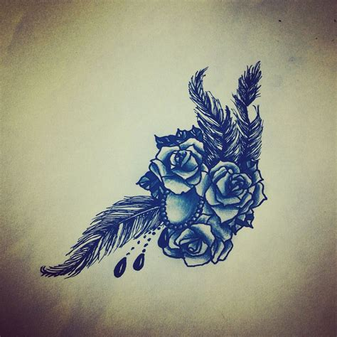 rose and beads tattoo bead feather design my work