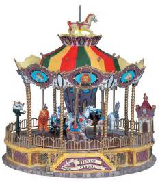 lemax carnival village belmont carousel lighted table