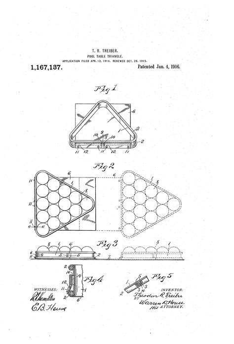 Pool Rack Dimensions by Patent Us1167137 Pool Table Triangle Patents