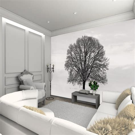 wall mural for 1 wall wallpaper mural tree snowy field 3 15m x 2 32m
