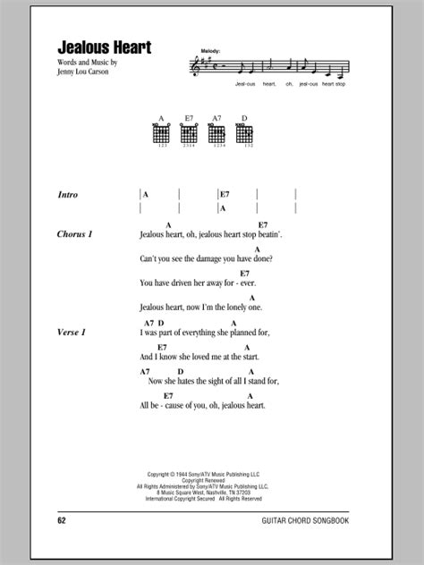 printable jealous lyrics jealous heart sheet music by tex ritter lyrics chords