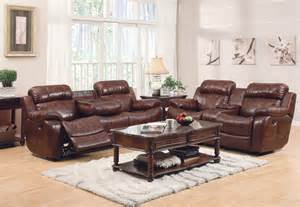 3pc traditional modern reclining leather sofa set he 0835