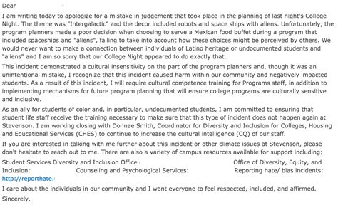 Apology Letter Racism School Forced To Apologize For Sci Fi Event Because Quot Racism Quot