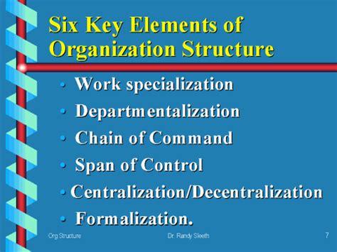organizational design key elements six key elements of organization structure