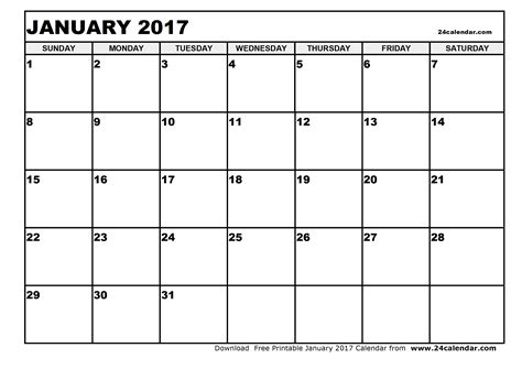 printable calendar blank 2017 blank january 2017 calendar in printable format